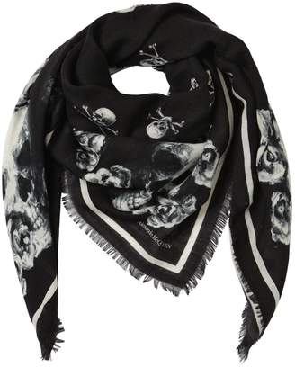 60e9c168f Alexander McQueen Skull And Roses Silk & Wool Scarf