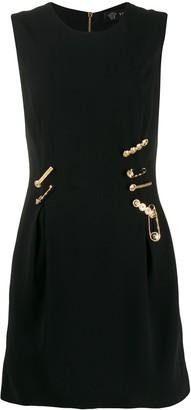 Versace logo pin embellished dress