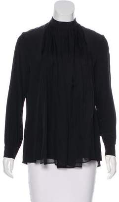Christopher Kane Silk Long Sleeve Blouse