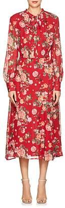 Barneys New York Women's Floral Silk Chiffon Tieneck Maxi Dress