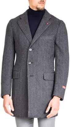 Isaia Men's Herringbone Wool Coat