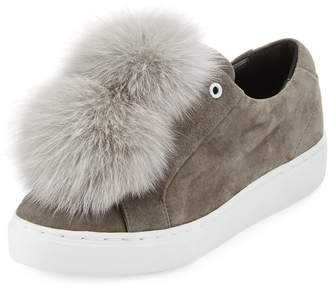 Here/Now Heather Fur Pompom Sneakers, Gray
