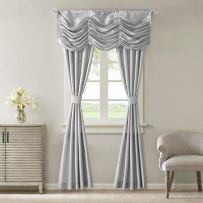 Madison Park Daphne Rod Pocket 5-Piece Faux Silk Window Curtain Panel and Valance Set in Silver