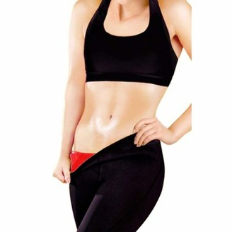 Beauty America Slimming Unisex Yoga Pants Neoprene Sweat Absorbent Weight Loss, Red
