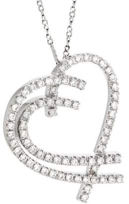 14K White Gold 1.05ctw. Pavé Diamond Open Heart Pendant