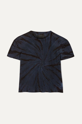 RtA Rain Cropped Tie-dyed Cotton And Cashmere-blend Jersey T-shirt - Storm blue