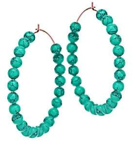 ginette_ny Women's Maria 18K Rose Gold & Turquoise Beaded Hoop Earrings