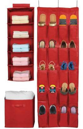 Sorbus Set of 3 Foldable Storage Box Cube Basket, Hanging Closet Shelves Organizer, Hanging Shoe Organizer, for Clothing, Shoes, Underwear, Bra, Socks, Linen and Towels (Red)