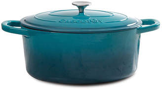 Asstd National Brand Artisan 5 Qt Round Dutch Oven - Teal Ombre - Enamel - Brushed SS Hollow Knob - Cast Iron