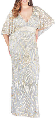 Mac Duggal Sequin Embellished Plunge-Neck Drape-Sleeve Gown, Plus Size