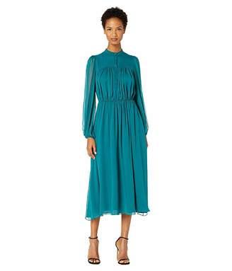 ADAM by Adam Lippes Silk Chiffon Long Sleeve Dress w/ Elastic Waist