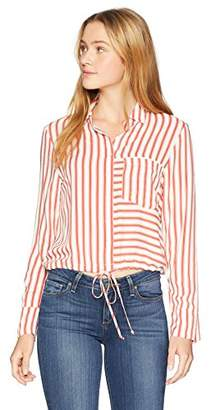 Soul Cake Women's TIE Waist Striped Shirt, Blue/White