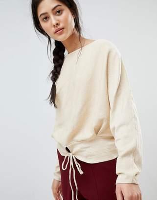 MANGO Tie Front Sweater In Beige