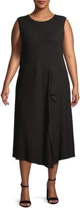 Calvin Klein Plus Ruffle Front Sleeveless Midi Dress