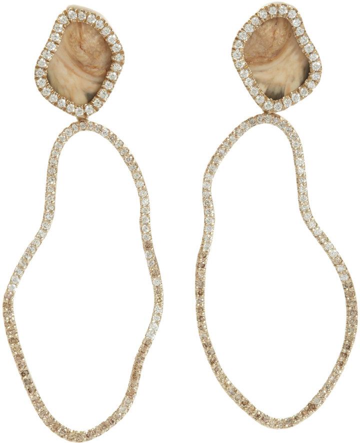 Monique Péan Woolly Mammoth & Champagne Diamond Drop Earrings