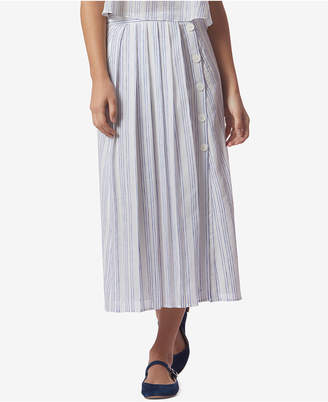 Avec Les Filles Striped Pleated Side-Button Midi Skirt $68 thestylecure.com