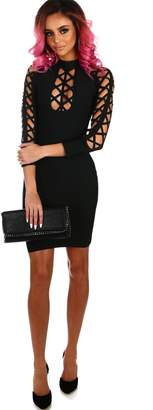 Pink Boutique Miss Hollywood Black Cut Out Sleeve Bandage Mini Dress