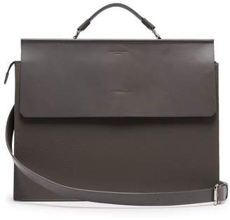 Nosakhari - Standout Grained Leather Briefcase - Mens - Grey