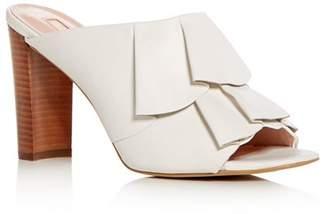 AVEC LES FILLES Women's Mallory Leather Ruffle High-Heel Slide Sandals