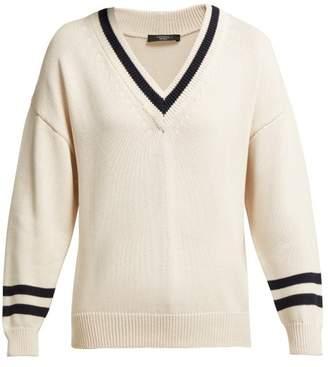 Max Mara V Neck Cricket Sweater - Womens - Cream Multi
