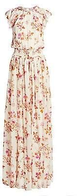 ML Monique Lhuillier Women's Floral Flutter-Sleeve Maxi Dress - Size 0