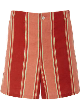 BODE Rajasthan Striped High-Waisted Shorts