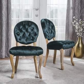 Noble House Trevor Tufted New Velvet Dining Chairs, Set of 2, Natural, Teal
