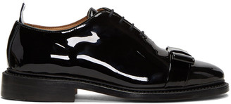 Thom Browne Black Patent Wholecut Bow Oxfords $1,195 thestylecure.com