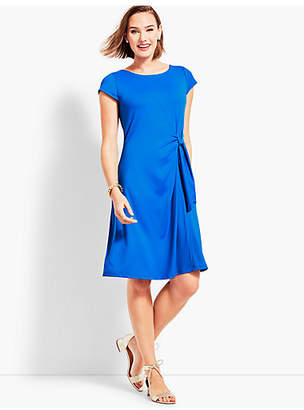 Talbots Solid Jersey Side-Tie Fit-and-Flare Dress