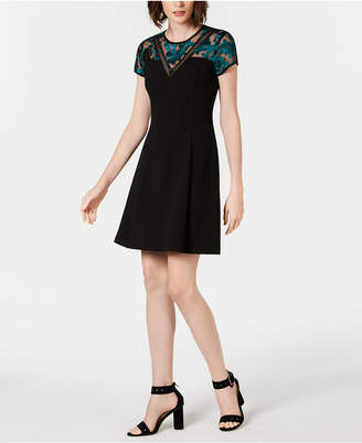 Kensie Embroidered-Mesh A-Line Dress