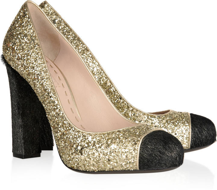 Miu Miu Glitter and calf hair pumps
