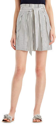 Jason Wu GREY Striped High-Waist Paperbag Shorts