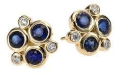 Temple St. Clair Classic Color Sapphire, Diamond& 18K Yellow Gold Trio Earrings