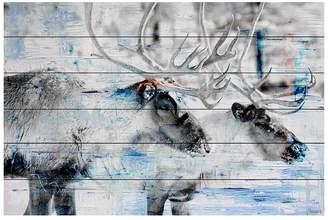 Parvez Taj Reindeer Pair White Wood Wall Art