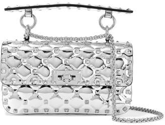 Valentino Garavani The Rockstud Spike Small Metallic Quilted Leather Shoulder Bag - Silver