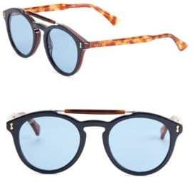 Gucci 50MM Mirrored Double-Bridge Round Sunglasses
