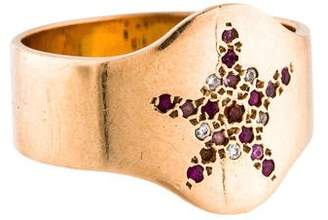 Carolina Bucci 18K Multicolored Sapphire Shield Ring