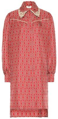 Fendi Printed silk-twill shirt dress