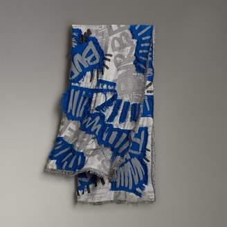 Burberry Graffiti Print Fil Coupe Cotton Wool Modal Scarf, Blue