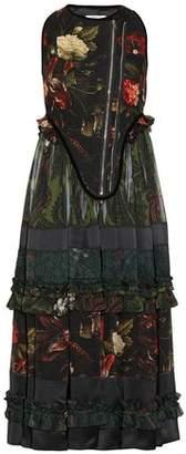 Givenchy Paneled Floral Print Wool-Blend And Chiffon Midi Dress