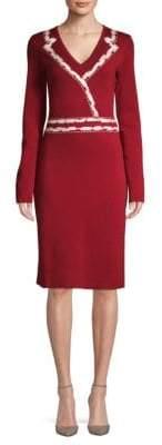 Carolina Herrera V-Neck Wool Knit Dress