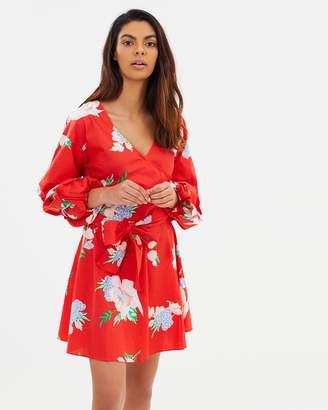 Miss Selfridge Floral Print Poplin Wrap Dress