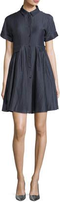 Emporio Armani Button-Front Short-Sleeve Crinkle-Cotton Shirtdress