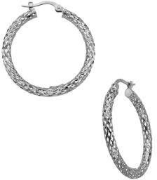 Lord & Taylor 14K White Gold Mesh Hoop Earrings