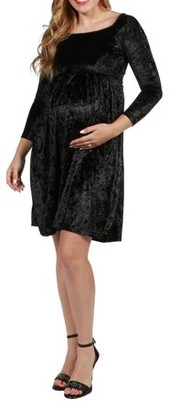24/7 Comfort Apparel Palisades Velvet Maternity Dress