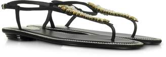 Rene Caovilla Black Suede and Crystals Flat Sandals
