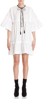 Philosophy di Lorenzo Serafini Tie-Neck Ruffle Shift Dress