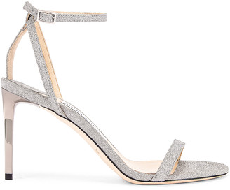 Jimmy Choo Minny 85 Fine Glitter Sandal in Silver   FWRD