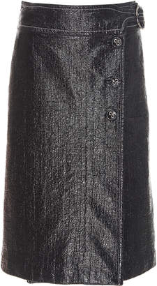 Marni Coated Woven Cotton Wrap Skirt