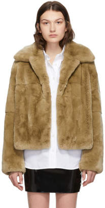 Yves Salomon Tan Rex Rabbit Fur Short Jacket